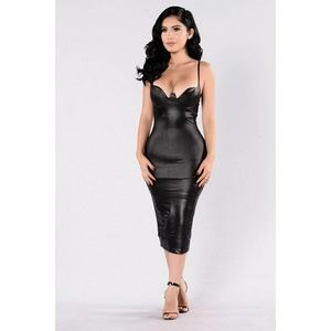 Fashion Nova Faux Leather Rita Midi Dress